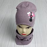 """М 4560. Комплект для девочек  шапка двойная и хомут """"скрипка"""" Vivatricko, 3-8 лет, разные цвета, фото 5"""