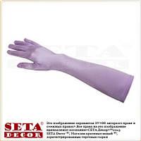 Длинные атласные сиреневые перчатки