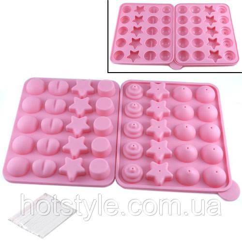 Форма силиконовая двойная для кейк-попсов, льда, конфет, 100845