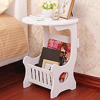 Круглий приліжковий столик з полицею для дрібниць, білий 36х46 см, маленький столик в спальню, фото 1