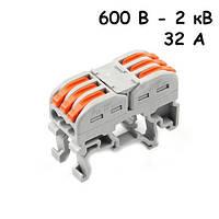 10x Клемма клеммник проходной пружинный 3 пары 600В-2кВ 32А, PCT-2213, 104761