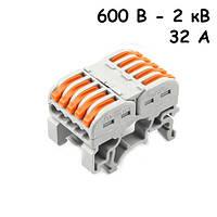 10x Клемма клеммник проходной пружинный 5 пар 600В-2кВ 32А, PCT-2215, 104808