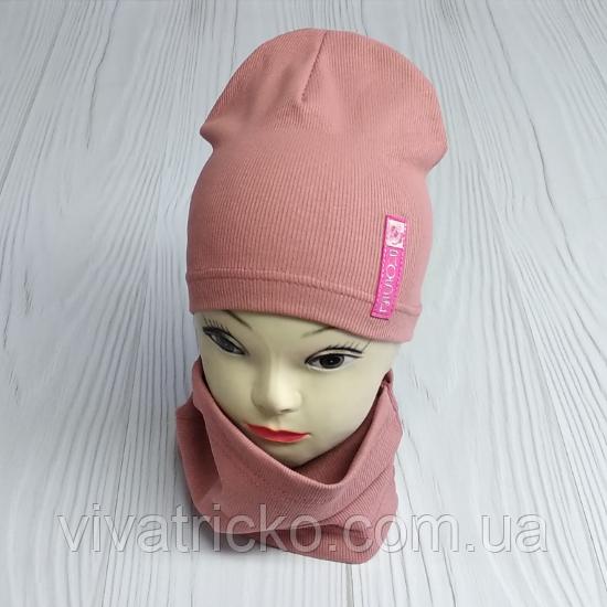 """М 4541. Комплект для девочек одинарный шапка и хомут """"ROSE"""" Vivatricko, 3-8 лет, разные цвета"""