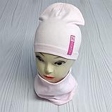 """М 4541. Комплект для девочек одинарный шапка и хомут """"ROSE"""" Vivatricko, 3-8 лет, разные цвета, фото 3"""