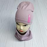 """М 4541. Комплект для девочек одинарный шапка и хомут """"ROSE"""" Vivatricko, 3-8 лет, разные цвета, фото 5"""