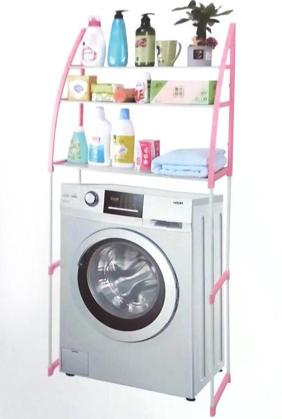 Полиця-стелаж підлогова над пральною машиною WM-63 Рожева
