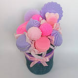 Мило букет мильних солодощів квіткова композиція з мила ручної роботи мильний букет подарунок на 8 березня, фото 10
