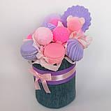 Мило букет мильних солодощів квіткова композиція з мила ручної роботи мильний букет подарунок на 8 березня, фото 8