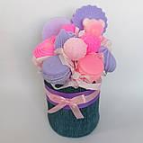 Мило букет мильних солодощів квіткова композиція з мила ручної роботи мильний букет подарунок на 8 березня, фото 5