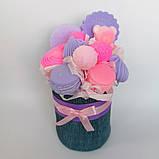 Мило букет мильних солодощів квіткова композиція з мила ручної роботи мильний букет подарунок на 8 березня, фото 4