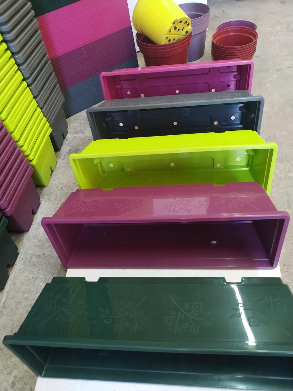 Балконный ящик с поддоном розовый, 50см