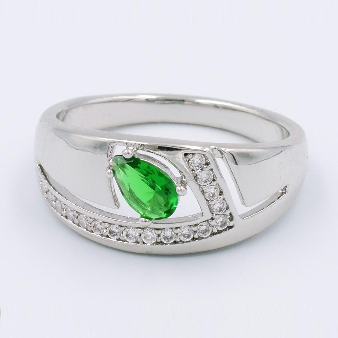 XUPING Кольцо Родий с зеленым и белыми цирконами, Высота 0.9см, Размер 18
