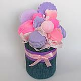 Мило букет мильних солодощів квіткова композиція з мила ручної роботи мильний букет подарунок на 8 березня, фото 2