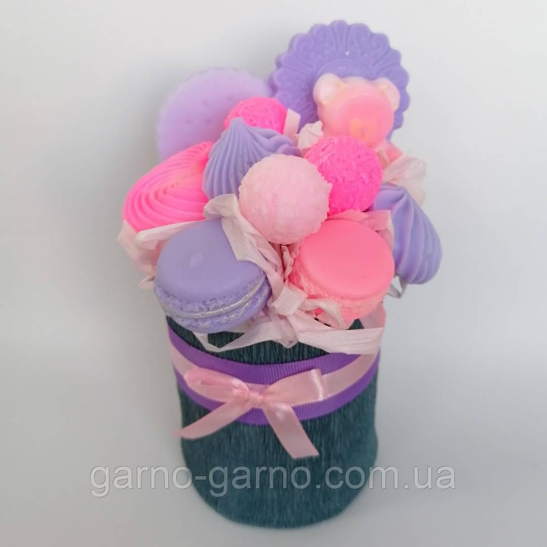 Мило букет мильних солодощів квіткова композиція з мила ручної роботи мильний букет подарунок на 8 березня
