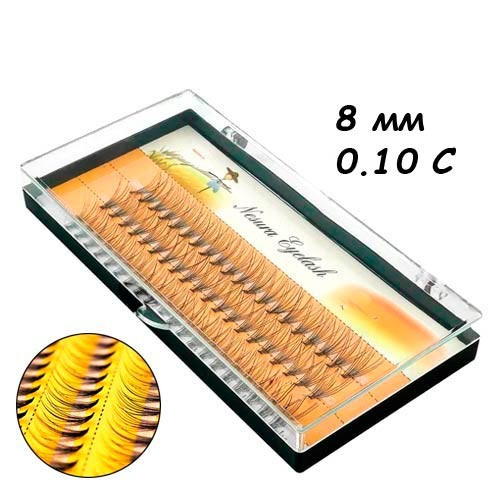 Ресницы пучковые накладные 8мм 0.10 С шелковые черные Nesura, 104681