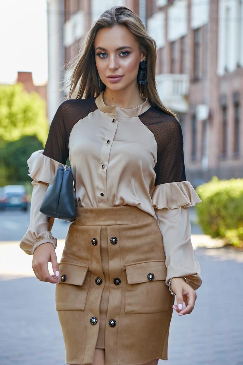 Короткая замшевая юбка с пуговицами+карманы цвет кофеный