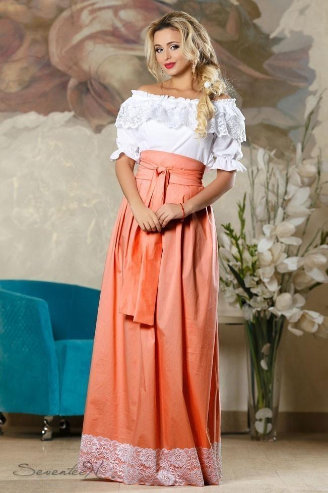 Длинная расклешенная юбка с широким поясом из коттона с кружевом персиковая