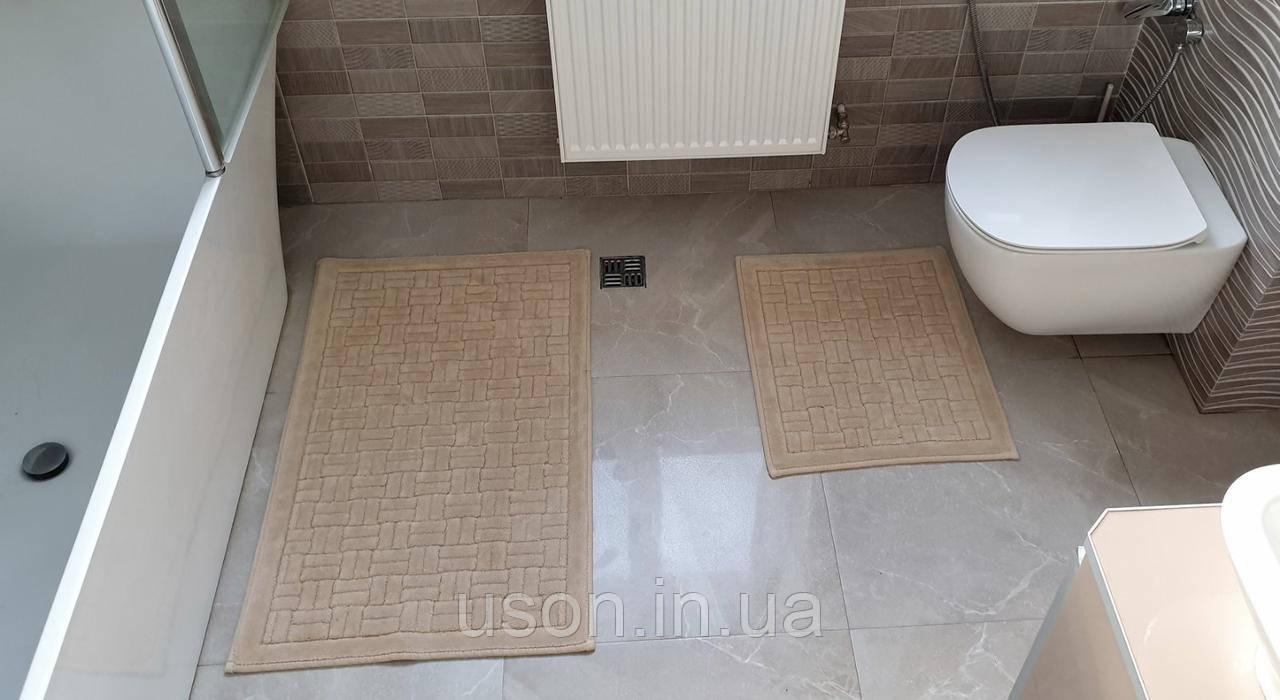 Набір бавовняних килимків для ванної кімнати Zeron 60*100 + 50*60 Сotton mat бежевий