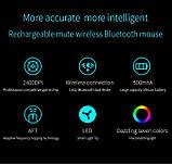 Розовая компьютерная мышь Bluetooth 4.0+ 2.4Ghz Беспроводная двухрежимная мышь 2 в 1 2400DPI KuWFi, фото 2