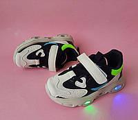 Кроссовки для мальчиков белые с мигающей подошвой