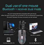 Розовая компьютерная мышь Bluetooth 4.0+ 2.4Ghz Беспроводная двухрежимная мышь 2 в 1 2400DPI KuWFi, фото 3