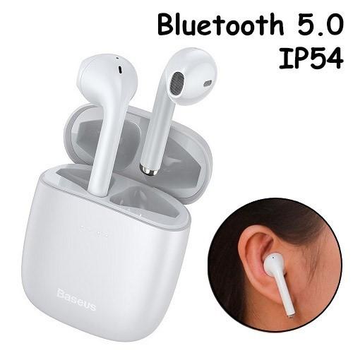 Бездротові навушники гарнітура з кейсом Baseus Encok W04 Bluetooth, Білі