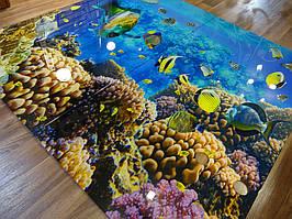 Стеклянное панно с фотопечатью на стену ванной - Морской мир 2