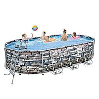 Каркасный бассейн Bestway с гидромассажем, 610 х 366 х 122 см,чаша+каркс+подсветка+гидромассаж
