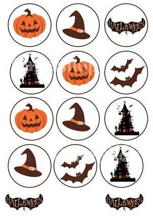 Вафельная картинка для капкейков Хеллоуин 1