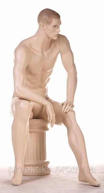 Манекен мужской телесный сидящий с макияжем