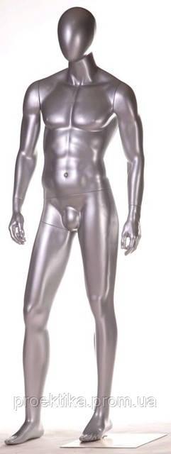 Манекен мужской безликий серебристый