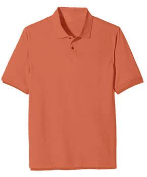 Футболка поло однотонная мужская, цвет морковный