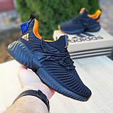 Чоловічі кросівки в стилі Adidas Alphabounce чорні з помаранчевим, фото 2