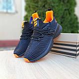 Чоловічі кросівки в стилі Adidas Alphabounce чорні з помаранчевим, фото 3
