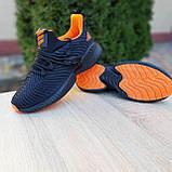 Чоловічі кросівки в стилі Adidas Alphabounce чорні з помаранчевим, фото 4