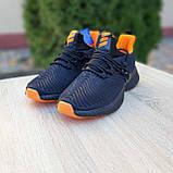 Чоловічі кросівки в стилі Adidas Alphabounce чорні з помаранчевим, фото 5
