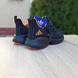 Чоловічі кросівки в стилі Adidas Alphabounce чорні з помаранчевим, фото 6