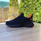 Чоловічі кросівки в стилі Adidas Alphabounce чорні з помаранчевим, фото 7