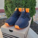 Чоловічі кросівки в стилі Adidas Alphabounce чорні з помаранчевим, фото 8