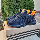 Чоловічі кросівки в стилі Adidas Alphabounce чорні з помаранчевим, фото 10