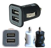 Зарядка USB в прикуриватель на два выхода, автомобильная зарядка usb черная