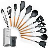 Силіконовий кухонний набір приладдя Cooking Easy з відерцем для зберігання 12 предметів (дерево+силікон), фото 3