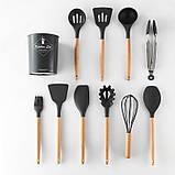 Силіконовий кухонний набір приладдя Cooking Easy з відерцем для зберігання 12 предметів (дерево+силікон), фото 4