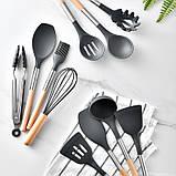 Силіконовий кухонний набір приладдя Cooking Easy з відерцем для зберігання 12 предметів (дерево+силікон), фото 7