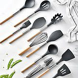 Силіконовий кухонний набір приладдя Cooking Easy з відерцем для зберігання 12 предметів (дерево+силікон), фото 8