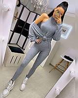 Женский костюм - тройка из трикотажа рубчик повседневный с лосинами, топом и кардиганом (р. 42-52) 20KO1660, фото 1
