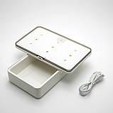 Портативний ультрафіолетовий стерилізатор з функцією бездротової зарядки смартфона UV UVC-LED 5V/2A Білий, фото 4