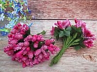 Сложные тычинки, цвет МАЛИНОВЫЙ, 12 шт. на проволоке