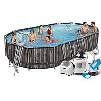 Каркасный бассейн Bestway овальный, 610 х 366 х 122 см, хлорогенератор +насос+лестница+тент+дозатор+подстилка