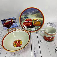 Набір дитячого посуду з кераміки із зображенням Блискавки Маквіна